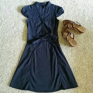 H&M navy cap-sleeve dress